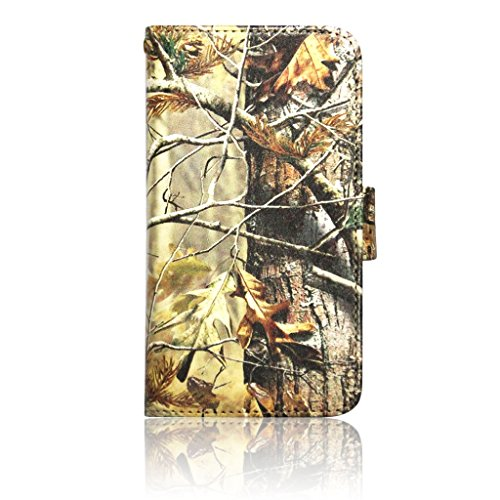 Leather Wallet Purse Clutch Handbag for Samsung Galaxy S3 Camouflage Autumn Leaves Brown Camo Leaves Leather Smart Case Cover with Clear Slot for ID, Credit Card Slots and Hidden Slot for Cash By DealsEggs®