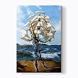 "PlusCanvas - The Ship - Salvador Dali - 30 x 45cm (12"" x 18"") Canvas Print"