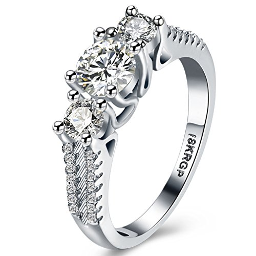Zales Promise Rings - FENDINA Womens Wedding Engagement Anniversary Bands Ring Classic Solitaire Love Promise Rings for Her - 18K White Gold Plated & CZ Crystal - FAR101
