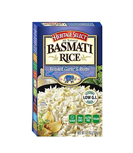 Heritage Select Basmati Rice, Roasted Garlic & Herbs with Orzo Pasta, 6.5 Ounce (Pack of 6) by Heritage Products