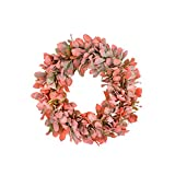 FAVOWREATH 2018 Fall Series FAVO-W59 Handmade 13 inch Red Hydrangea Grapevine Wreath For Summer/Fall Season Festival Celebration Front Door/Wall/Window/Fireplace Floral Hanger Craft Home Natural Decor