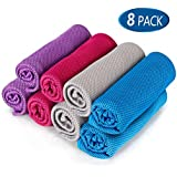 "8Packs Cooling Towel (40""x 12""), Ice Towel, Microfiber Towel, Soft Breathable Chilly Towel Stay Cool for Yoga, Sport, Gym, Workout, Camping, Fitness, Running, Workout & More Activities"