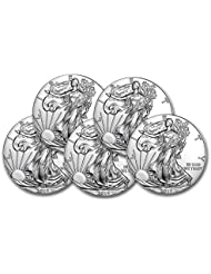 2019 Lot of (5) 1-Ounce American Silver Eagle Brilliant Uncirculated