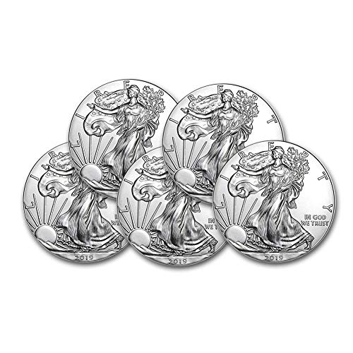 2019 Lot of (5) 1-Ounce American Silver Eagle Brilliant Uncirculated ()
