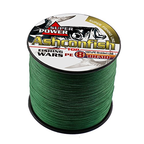 Ashconfish Braided Fishing Line-8 Strands Super Strong Fishing Wire 1000M/1093Yards 130LB-Abrasion Resistant Braided Lines-Incredible Superline-Zero Stretch-Superfine Diameter-Moss Green
