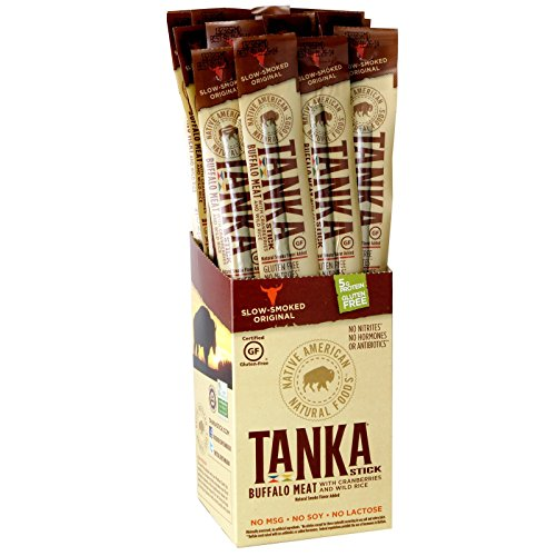 Tanka Buffalo with Cranberries and Wild Rice Meat Protein Stick, Beef Jerky Alternative, Gluten Free Snacks, 1 Ounce Package, (Pack of 8)