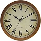 Plastic Wall Clock With Hidden Safe (10', Wood Grain)