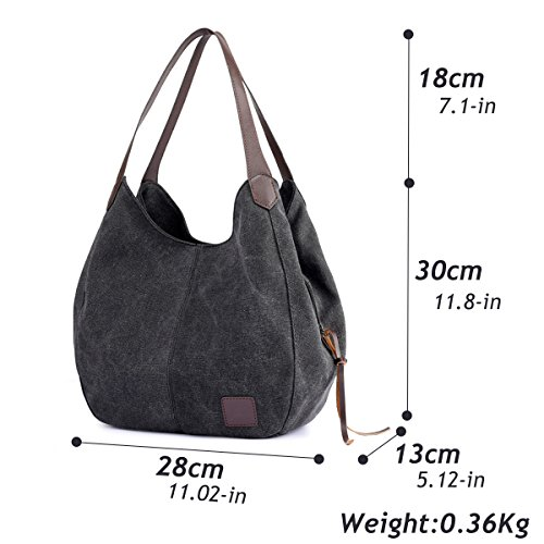Purses Canvas Totes Bags Handbags Multi Fashion Cotton pocket Hiigoo Women's Shoulder Black 76wnO