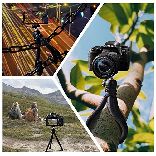 Phone Flexible Tripod Octopus Leg Mini Ball Head with Bluetooth Camera Remote, Mobile Tripod Mount Adapter, Compatible with iPhone 12 11Xs Samsung Andriod Live Streaming Vlog Webcam Tabletop Meeting