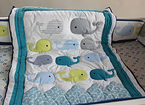 NAUGHTYBOSS Baby Bedding Set Cotton 3D Embroidery Ocean Whale Quilt Bumper Mattress Cover Blanket 8 Pieces Ocean Blue by NAUGHTYBOSS (Image #4)