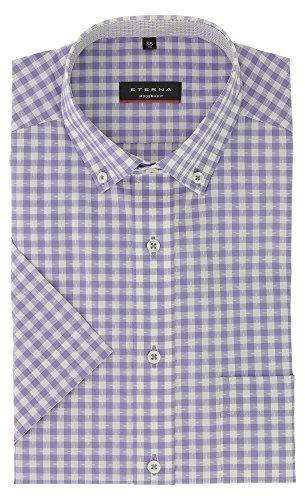 ETERNA Kurzarm Hemd Modern Fit mit Button Down Kragen Baumwolle Gr. 43 Flieder Kariert