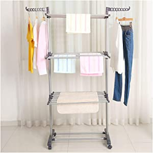 bigzzia Clothes Drying Rack, 3-Tier Collapsible, Rolling, Stainless Laundry Dryer Hanger with Casters for Indoor (Gray)