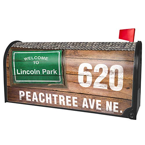 NEONBLOND Custom Mailbox Cover Green Road Sign Welcome to Lincoln Park -