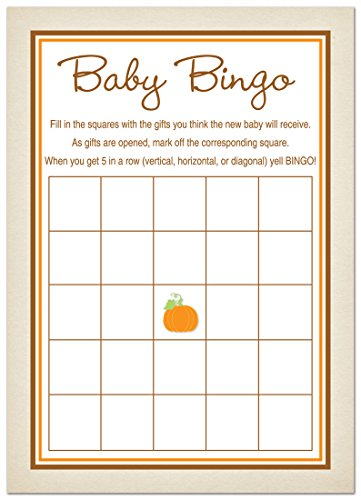 24 Little Pumpkin Rustic Border Baby Bingo (Halloween Bingo Games)