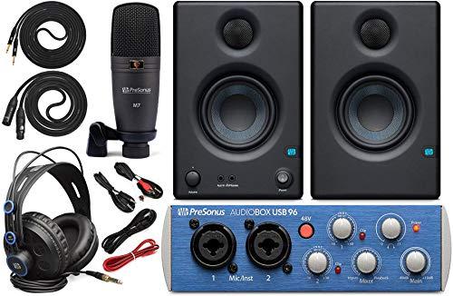 "0.25 Studio - Presonus AudioBox 96 Audio Interface Full Studio Bundle with Studio One Artist Software Pack w/Eris 3.5 Pair Studio Monitors and 1/4"" TRS to TRS Instrument Cable"