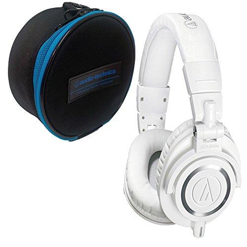 Audio-Technica ATH-M50x Sound-Isolating Monitor Headphones-White+ Headpones Case