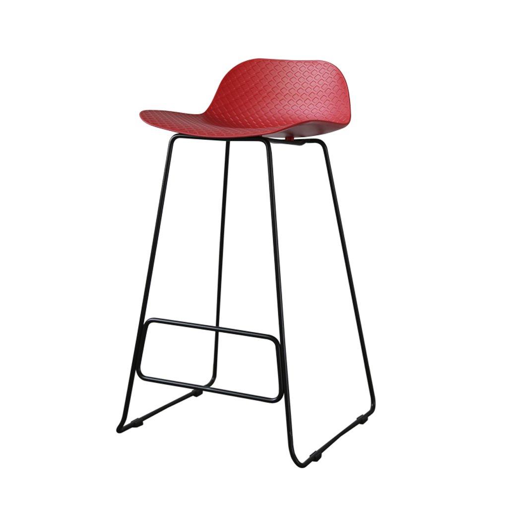 バースツール、レジャー鍛鉄スツール、シンプルキッチン朝食スツール、(39cm * 44cm * H75cm)、1本、赤 B07CJ1WZ96