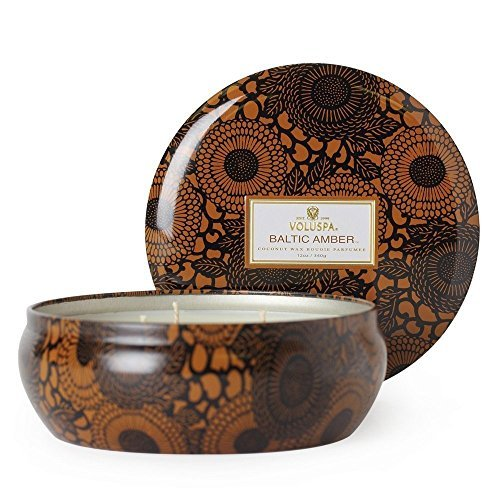 Voluspa Baltic Amber Decorative 3 Wick Tin Candle 12.0 oz by Voluspa