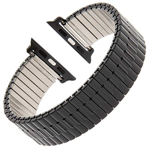 Gilden for Apple 38mm/40mm 42mm/44mm Expansion Wide Black Stainless Steel Metal Watch Band 552W-BL-SMART (Fits 42mm/44mm Apple Watch, Black) (Fit Watch Flex)