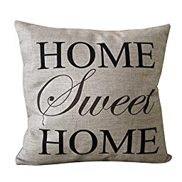CoolDream Home Sweet Home Square Pillow Cover Cushion Case Toss Pillowcase(18\