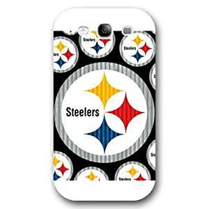 Onelee Customized NFL Series Case for Samsung Galaxy S3, NFL Team Pittsburgh Steelers Logo Samsung Galaxy S3 Case, Only Fit for Samsung Galaxy S3 (White Frosted Shell) by runtopwell