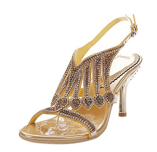 Tacco Delle Partito Di Oro Caviglia Cristallo Ritagli Spillo Donne Scintilla Posteriore 01 Cinturino Sandali Pu A Abito Alto rqn6a7rAU