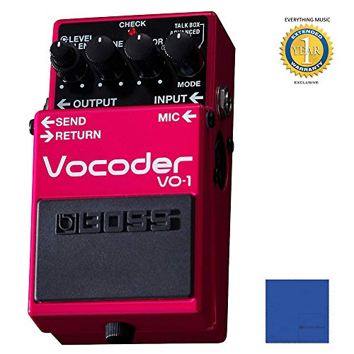 BOSS VO-1 Vocoder Effects Pedal with Microfiber and 1 Year Everything Music  Extended Warranty