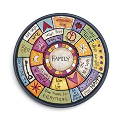 Kitchen DEMDACO Family Values Love Kind Peace Multicolored 18 x 18 Wood Composite Lazy Susan lazy susans