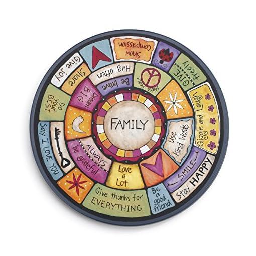 Kitchen DEMDACO Family Values Love Kind Peace Multicolored 18 x 18 Wood Composite Lazy Susan lazy susans