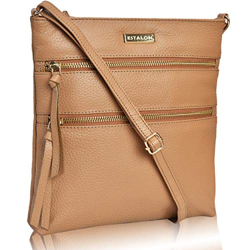Leather Crossbody Purse for Women- Premium Crossover Cross Body Bag Over the Shoulder Luxury Womens Purses and Handbags (Taupe Pebble)
