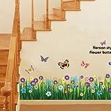 fitTek® Wall Sticker Adesivo da Parete Prato Fiori Rimovibile Multicolori x Bagno Doccia