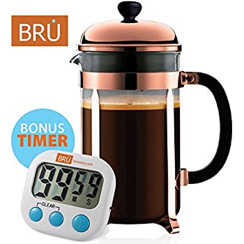 Classic French Press - FREE TIMER INCLUDED - BRU USA Coffee & Tea Maker   8 Cup - 34 Oz   Solid Stainless Steel, Enhanced Filter System, Borosilicate Glass (Copper)