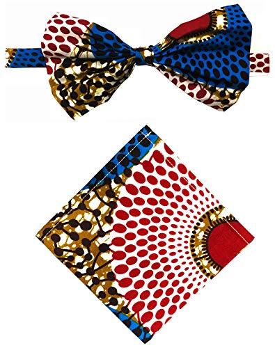 (Unisex Ankara African Print Kente Bow Tie And Pocket Square Set (COLOR E))