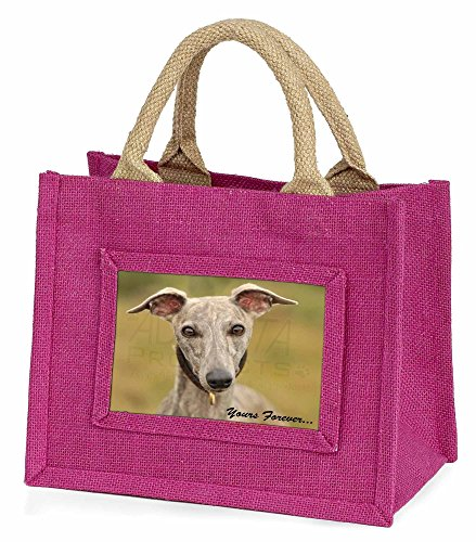 Advanta–Mini Pink Jute Tasche Whippet Puppy Yours Forever Little Mädchen kleinen Einkaufstasche Weihnachten Geschenk, Jute, pink, 25,5x 21x 2cm