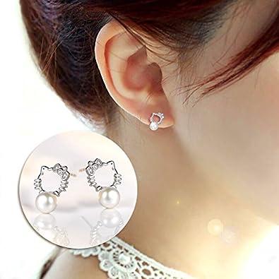 f2508b3af3ed Red Moon Pendientes aretes Hello Kitty de perlas naturales de agua dulce en plata  esterlina 925 RM4140  Amazon.es  Joyería