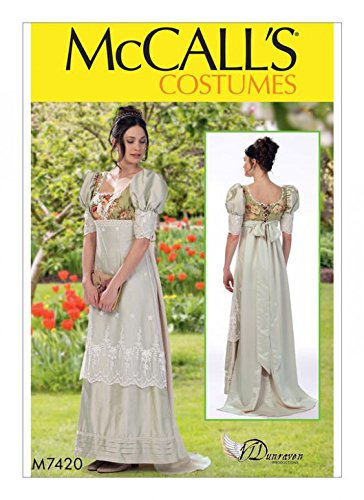 McCalls Ladies Sewing Pattern 7420 Empire Waist Dress Historial Costume