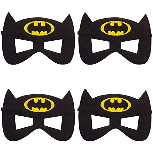4 Pack MASKS Superhero or Princess Kids Childrens Halloween Costume, Super Hero Party Favors (Batman Masks)