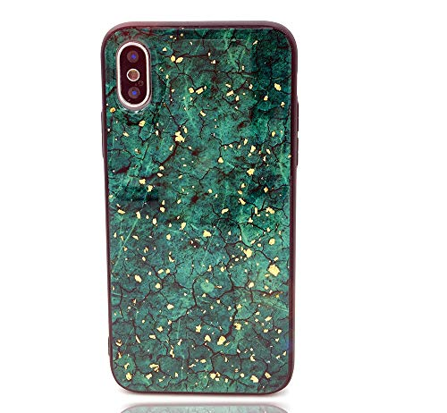 - HUIYCUU Case Compatible with iPhone Xs Max Case, Glitter Green Marble Design Shockproof TPU Soft Bumper Hard Back Cover for Girls Women Floral Glossy Pattern Gold Case for iPhone X Max, Dark Green