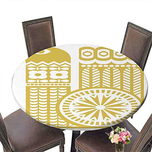 PINAFORE Elasticized Table Cover Silhouette de l'oiseau Jaune Dans le Style scandinave Machine Washable 40