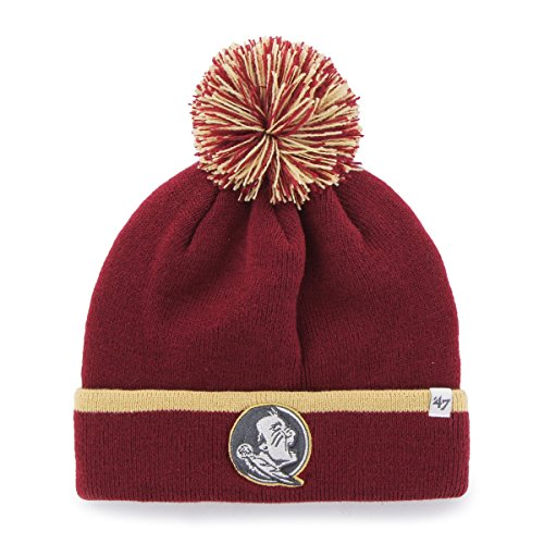 ('47 NCAA Florida State Seminoles Baraka Cuff Knit Hat with Pom, One Size Fits Most, Cardinal )