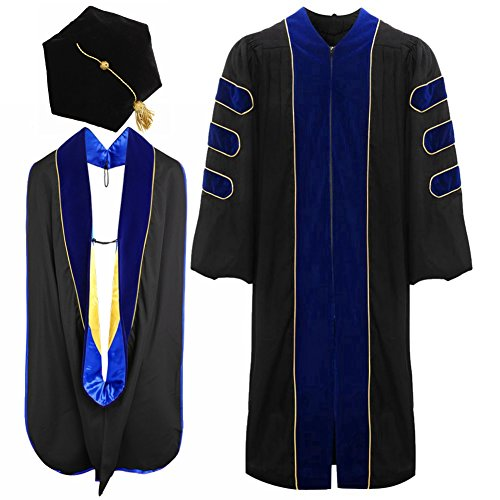 lescapsgown Deluxe Doctoral Graduation Gown Hood and Tam 6Sided Package Size 54