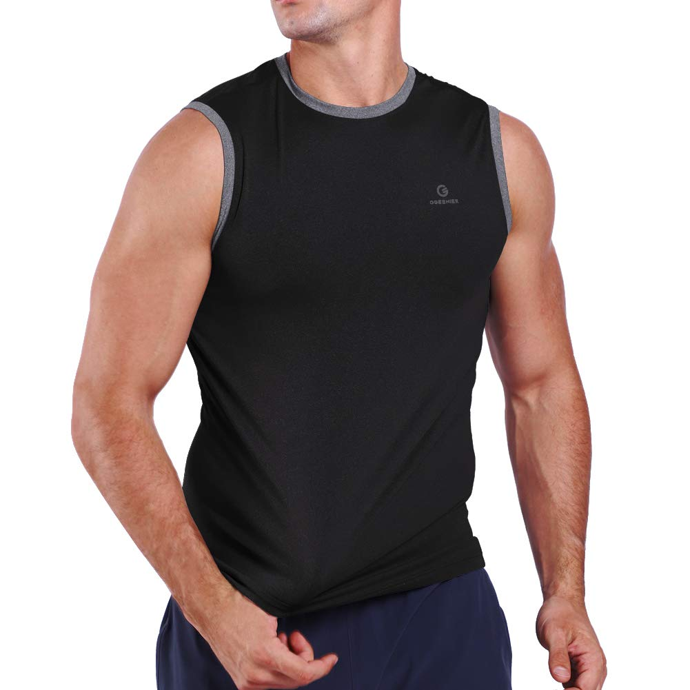 Ogeenier Mens Quick Dry Sleeveless Compression Muscle Tank Top Shirts Athletics Training Workout Gym Vest Baselayer