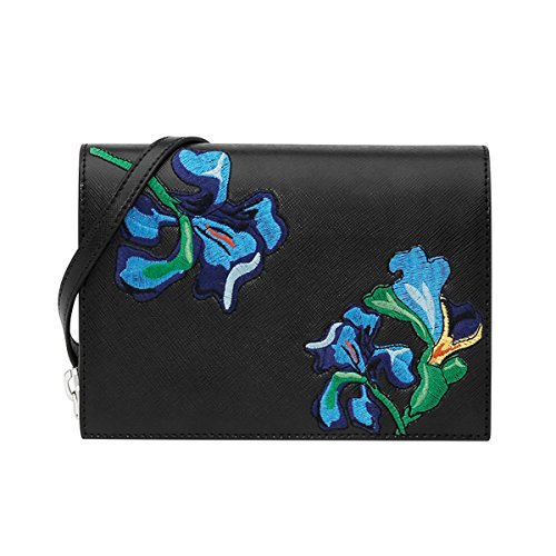 Charles & Keith Saffiano PU Small Crossbody Bag Floral Embroidery Ladies X-Body Bag Color Black 17SS CK2-80840065