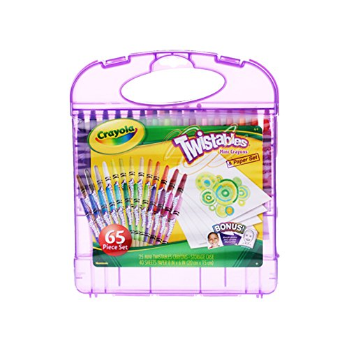 Crayola Mini Twistables Crayons & Paper Set, 65 Pieces Art Tools for Kids 4 & Up, Twistables Crayons & Drawing Paper Sheets In Convenient Travel Case, Self-Sharpening No Mess Twist-Up Crayons