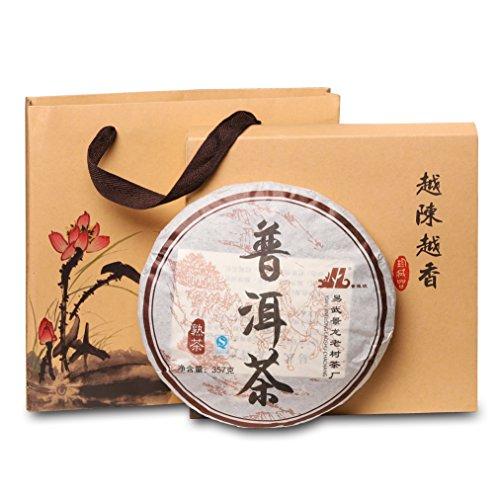 (Ripe Puerh Tea «Original Puerh Cake» (150 cups), Pu erh tea, Loose Leaf Yunnan Pu-erh tea compressed in a Tea Cake shape, Shu Puerh Chinese tea, post-fermented aged tea 12.6 ounces\ 357 g)