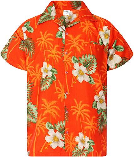 - King Kameha Funky Hawaiian Shirt, Shortsleeve, Small Flower, Orange, XL