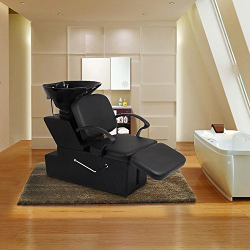 Erfect Salon Bowl Shampoo Sink Backwash Chair Barber Beauty Spa Equipment Black from Erfect