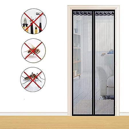 negro Cortina de malla magn/ética para mosquiteros Puerta de la pantalla de la pantalla de protecci/ón Se adapta a la puerta hasta 100 x 210 cm con cinta m/ágica de fotograma completo