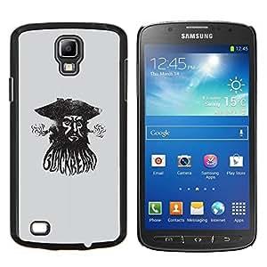 YiPhone /// Prima de resorte delgada de la cubierta del caso de Shell Armor - Pirata Capitán de mar Acuarela Negro - Samsung Galaxy S4 Active i9295