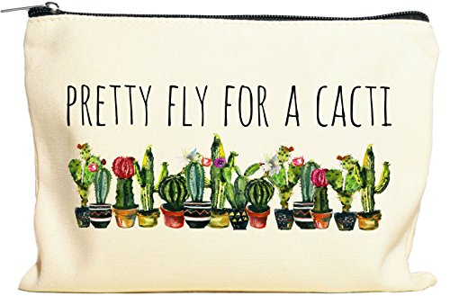 Pretty Fly For A Cacti Makeup Bag, Cactus Gift For Women, Cactus Gift, Succulent Plant Gift, Canvas Bag by Moonwake Designs